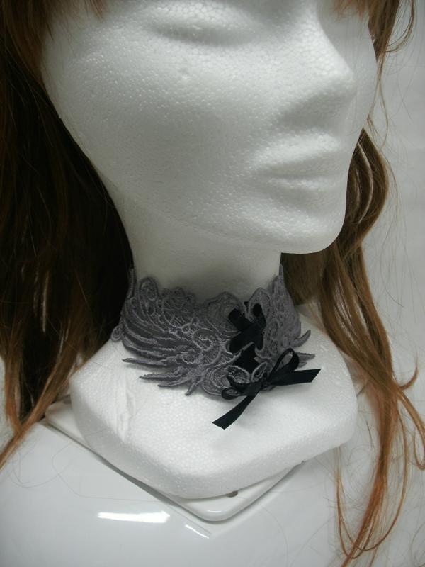 Bandeau Tour de cou headband chocker gris grey by amd a coudre (6)