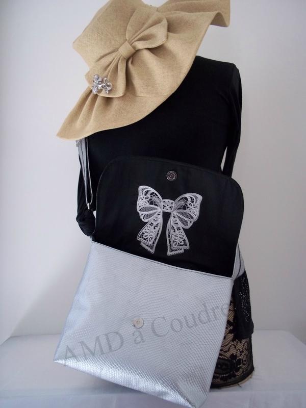 sac besace simil cuir argenté création amd a coudre (6)