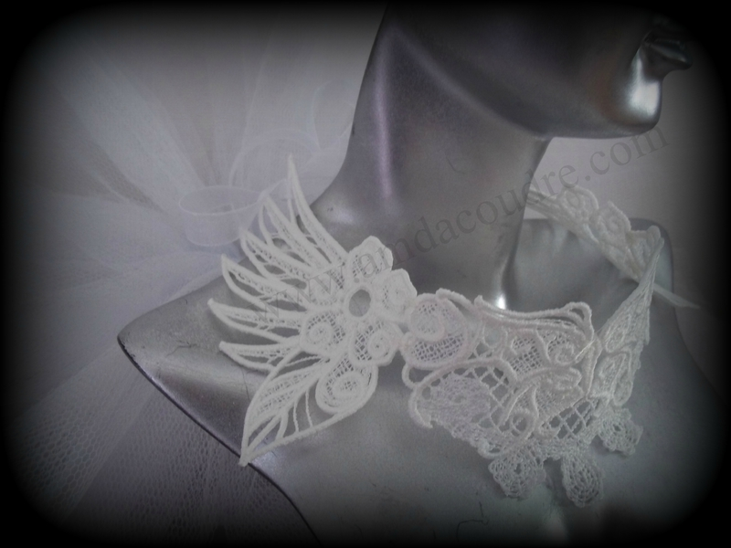 TOUR DE COU BLANC BIJOUX MARIEE WEDDING LACE JEWERLY DENTELLE AMD A COUDRE (1)