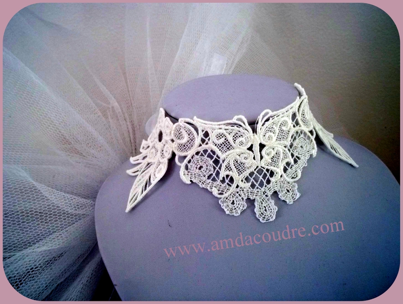 TOUR DE COU BLANC BIJOUX MARIEE WEDDING LACE JEWERLY DENTELLE AMD A COUDRE (2)