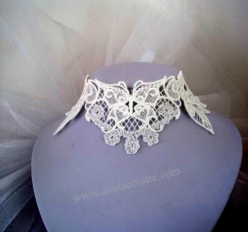 TOUR DE COU BLANC BIJOUX MARIEE WEDDING LACE JEWERLY DENTELLE AMD A COUDRE (3)