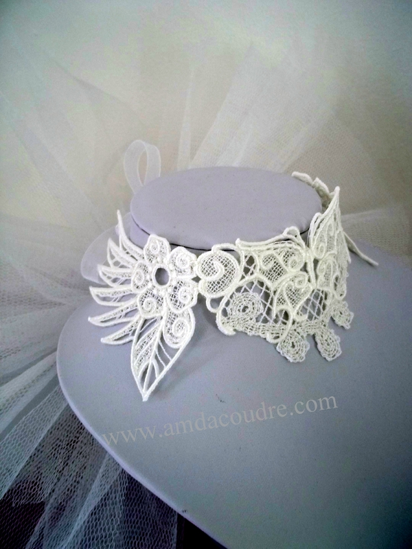 TOUR DE COU BLANC BIJOUX MARIEE WEDDING LACE JEWERLY DENTELLE AMD A COUDRE (4)
