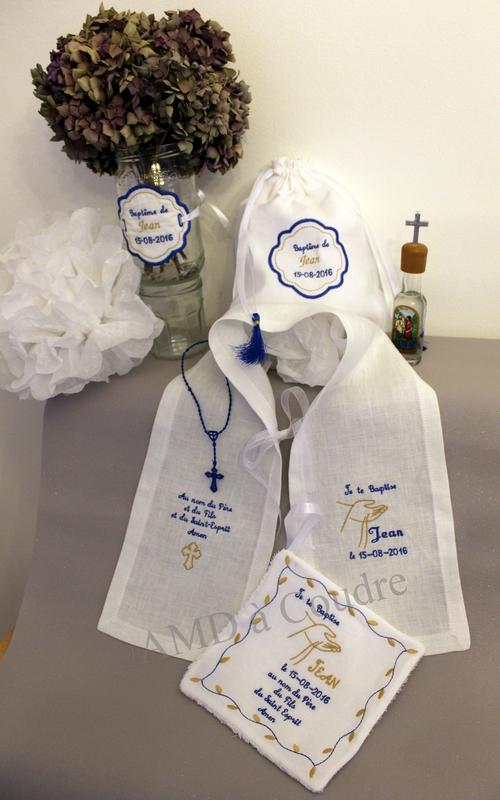 ENSEMBLE BAPTISE MOUCHOIR POCHON PAMPILLE ETOLE CHAPELET PERSONNALISATION AMD A COUDRE (19)