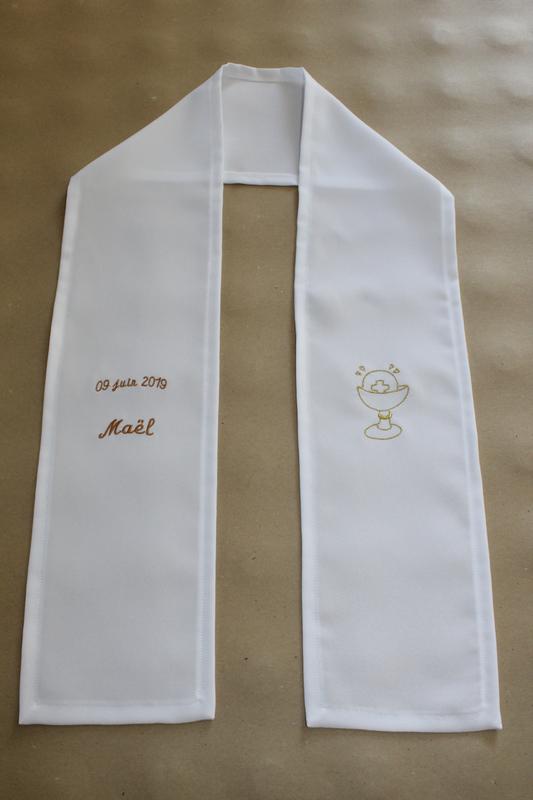 Cérémonies articles brodés personnalisés baptême communion AMD A COUDRE (18)