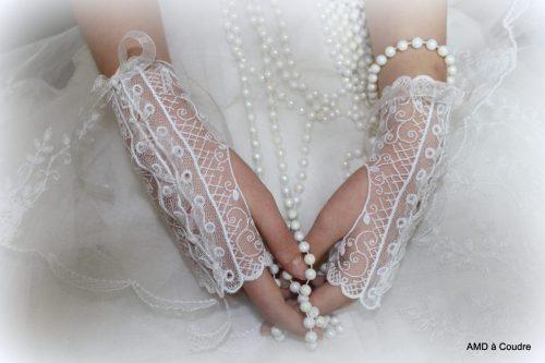 GANTS DE MARIAGE DENTELLE BLANCHE BY AMD A COUDRE