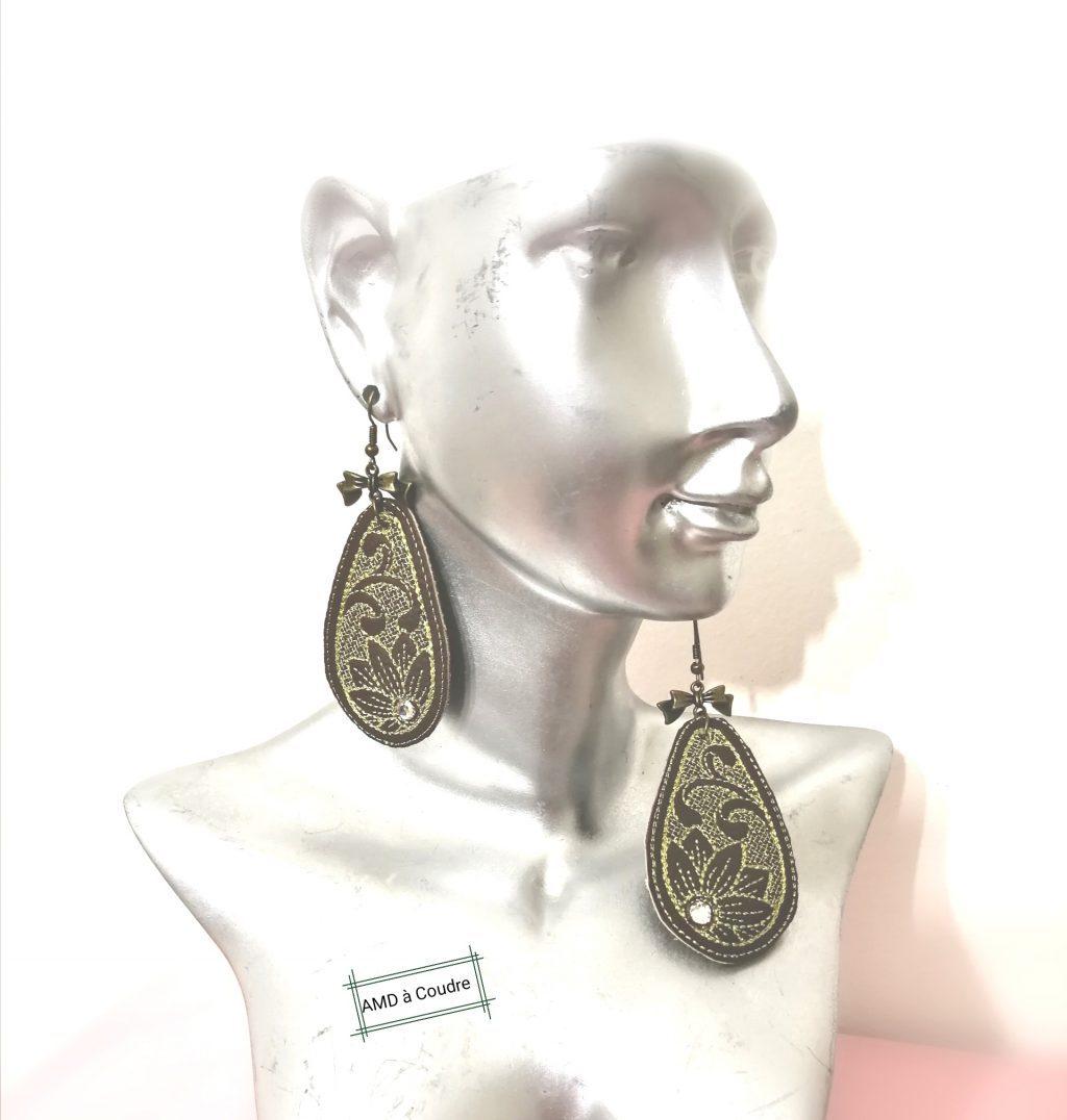 Boucles d'oreilles ornées de cristaux Swarovski motif tournesol