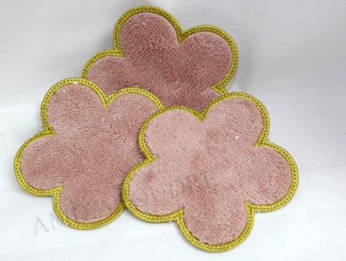 1LINGETTE FLEUR ROSE ET OR eponge de bamnou