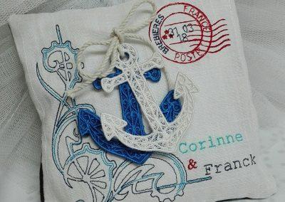 coussin porte alliances personnalisé thème marin amd a coudre