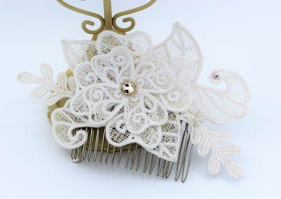 peigne cheveux dentelle blanche et cristal de Svarovski