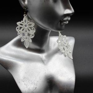 boucles d'oreilles chandelier couleur blanche et swarovski amd a coudre