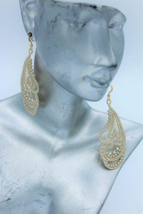 boucles d'oreilles dentelle ecrue et swarovski brillant amd a coudre (1)