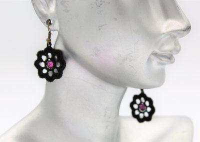 boucles d'oreilles fleur swarovski rose amd a coudre