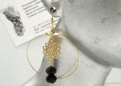 boucles oreilles créoles filigrane etoile perles noires amd a coudre