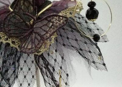 Boucles d'oreilles créoles, étoile filigrane dorée, perles facettes noires