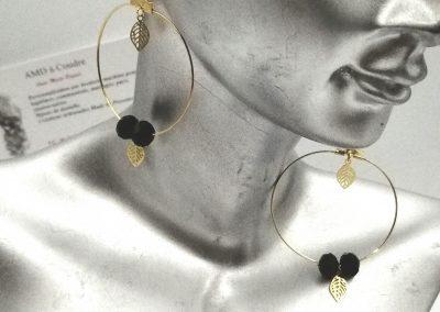 créoles dorées feuilles filigrane perles à facettes amd a coudre